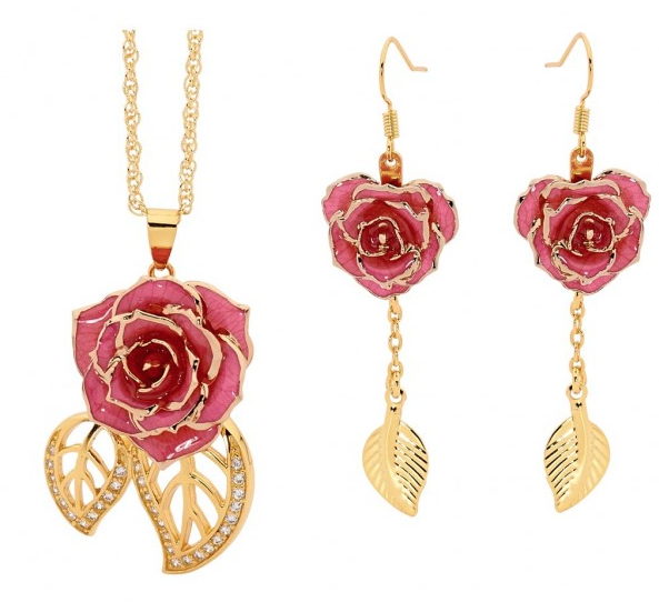 Rose earrings and pendant