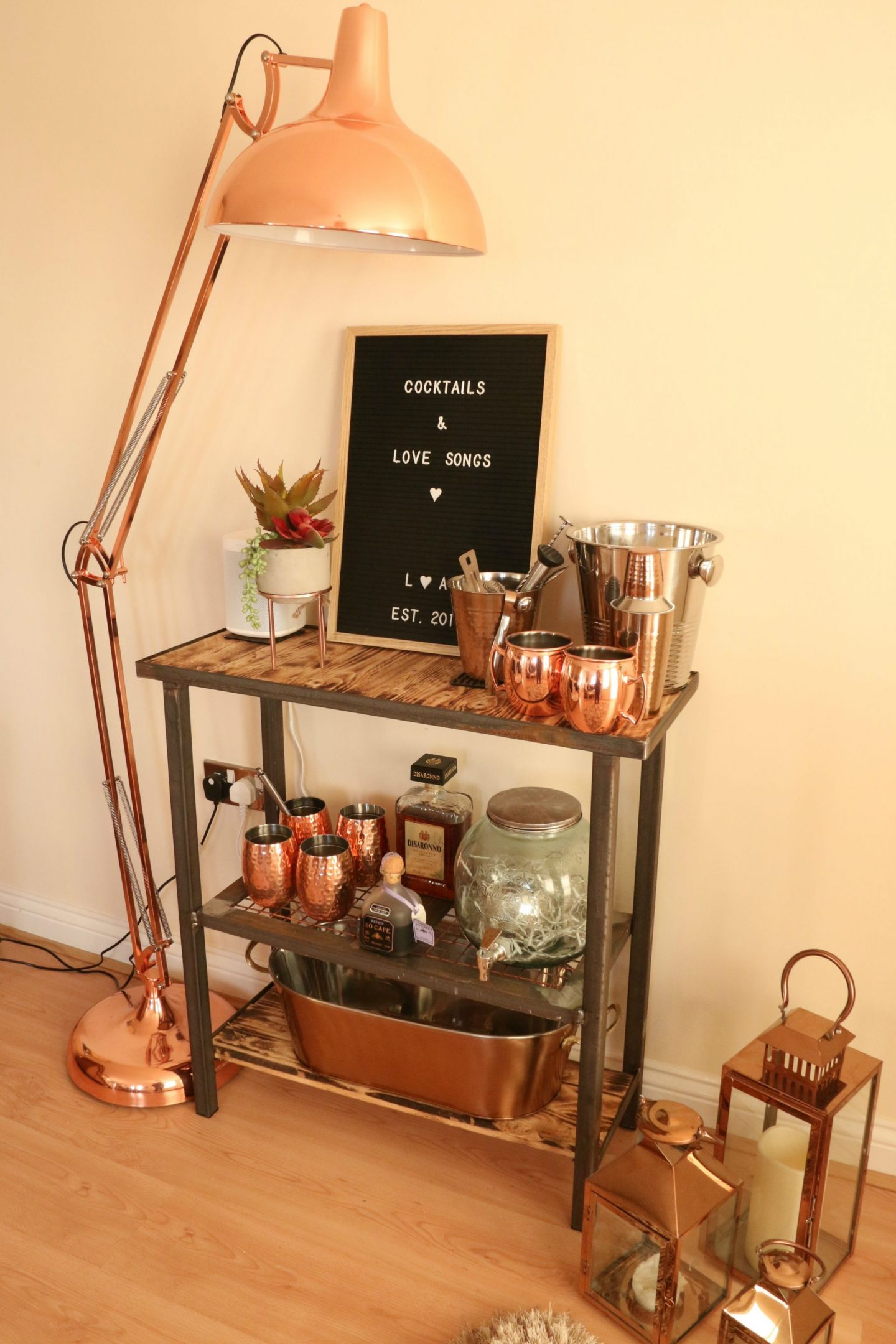 At Home Bar Set Up With Copper Theme