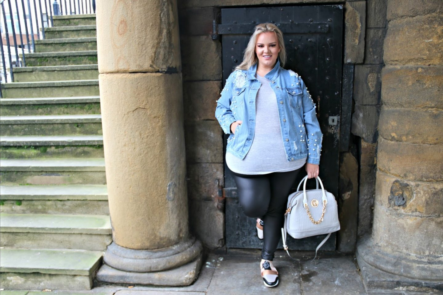 Glamorous Pearl Denim Jacket Simply Be Plus Size WhatLauraLoves