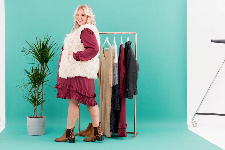 WhatLauraLoves X Curvissa Burgundy Dress Faux Fur Gilet