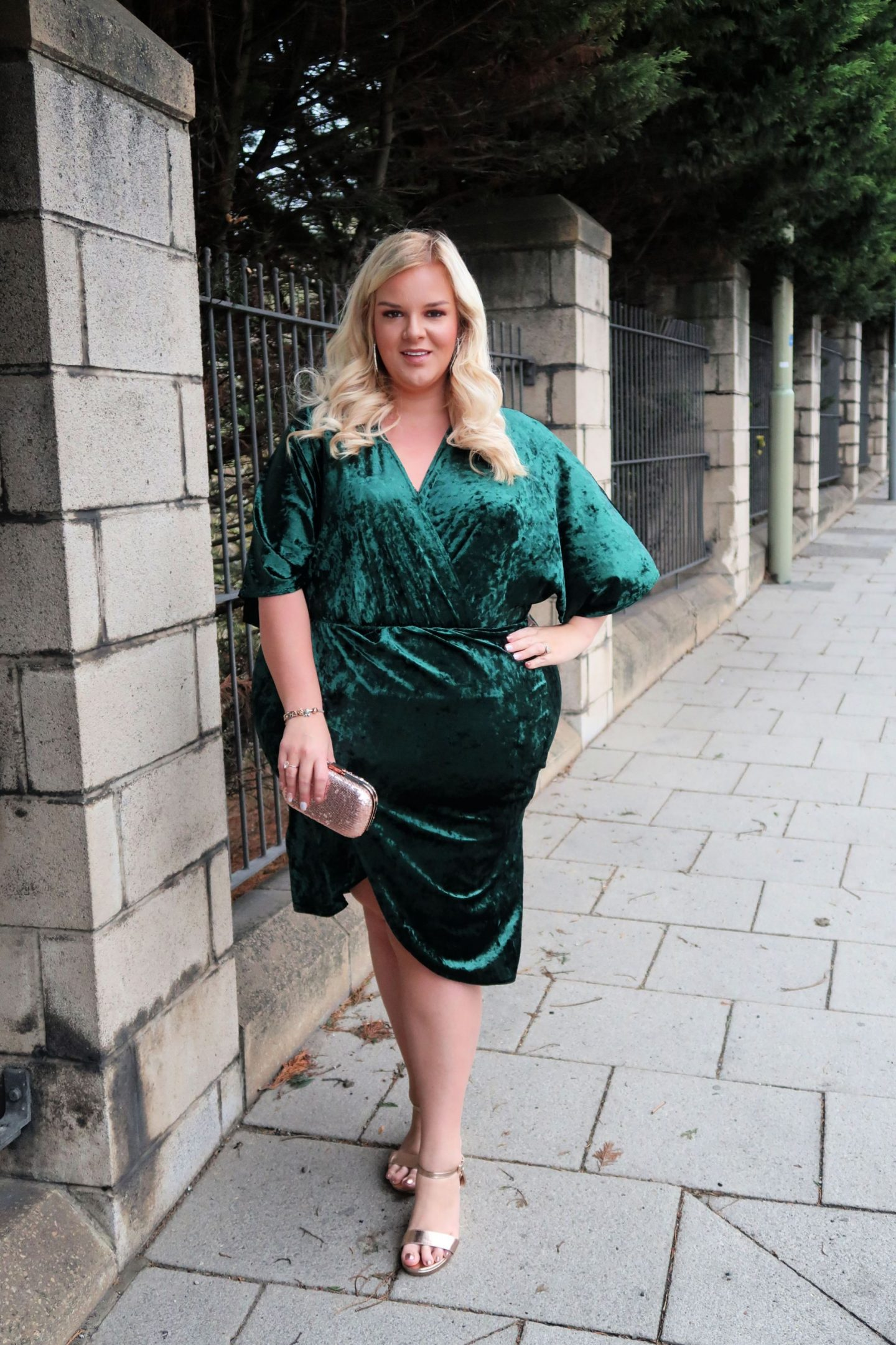 WhatLauraLoves Simply Be Plus Size Green Velvet Dress