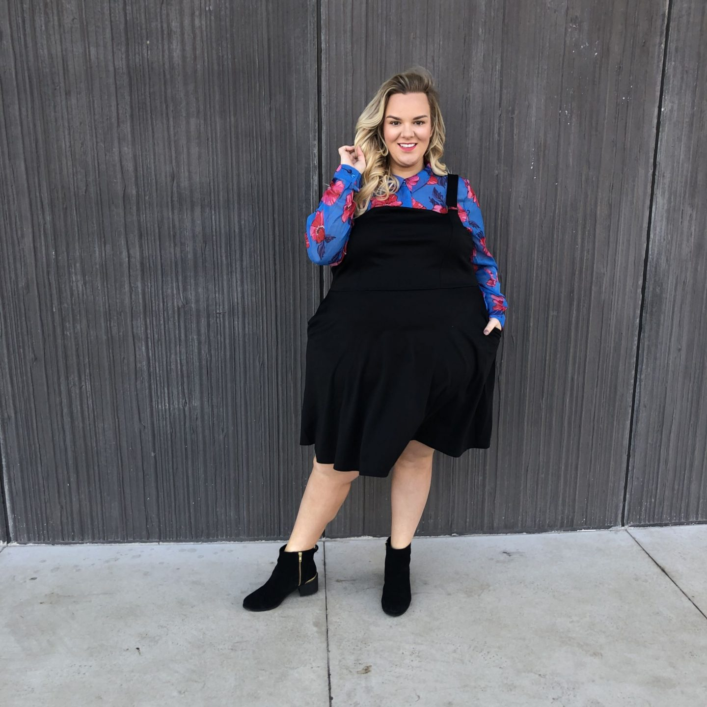 WhatLauraLoves Pinafore Dress and Floral Shirt