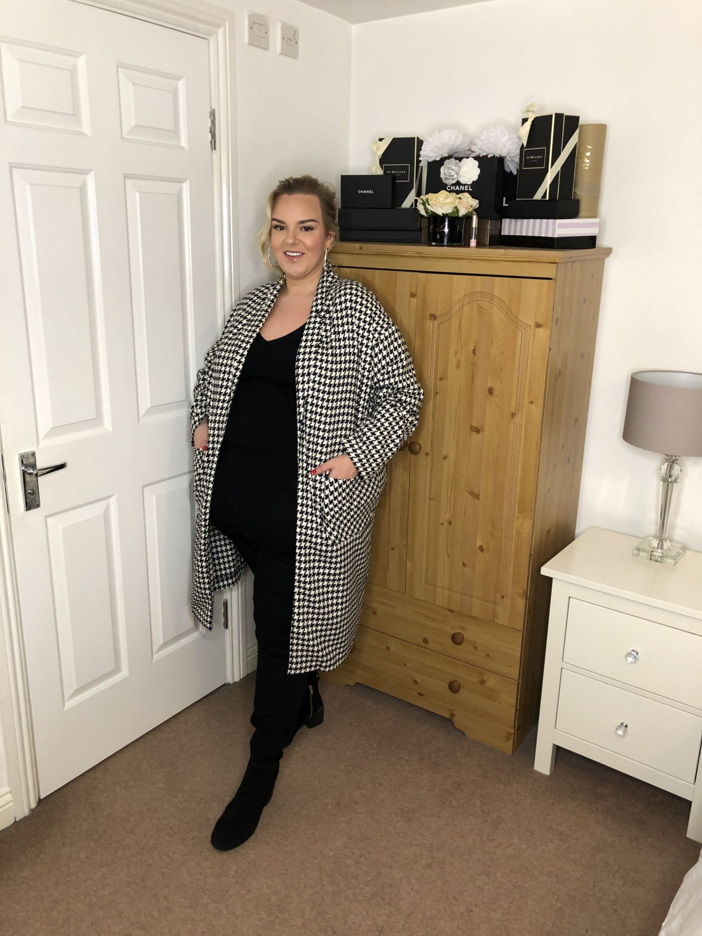 Houndstooth Coat Simply Be Plus Size WhatLauraLoves