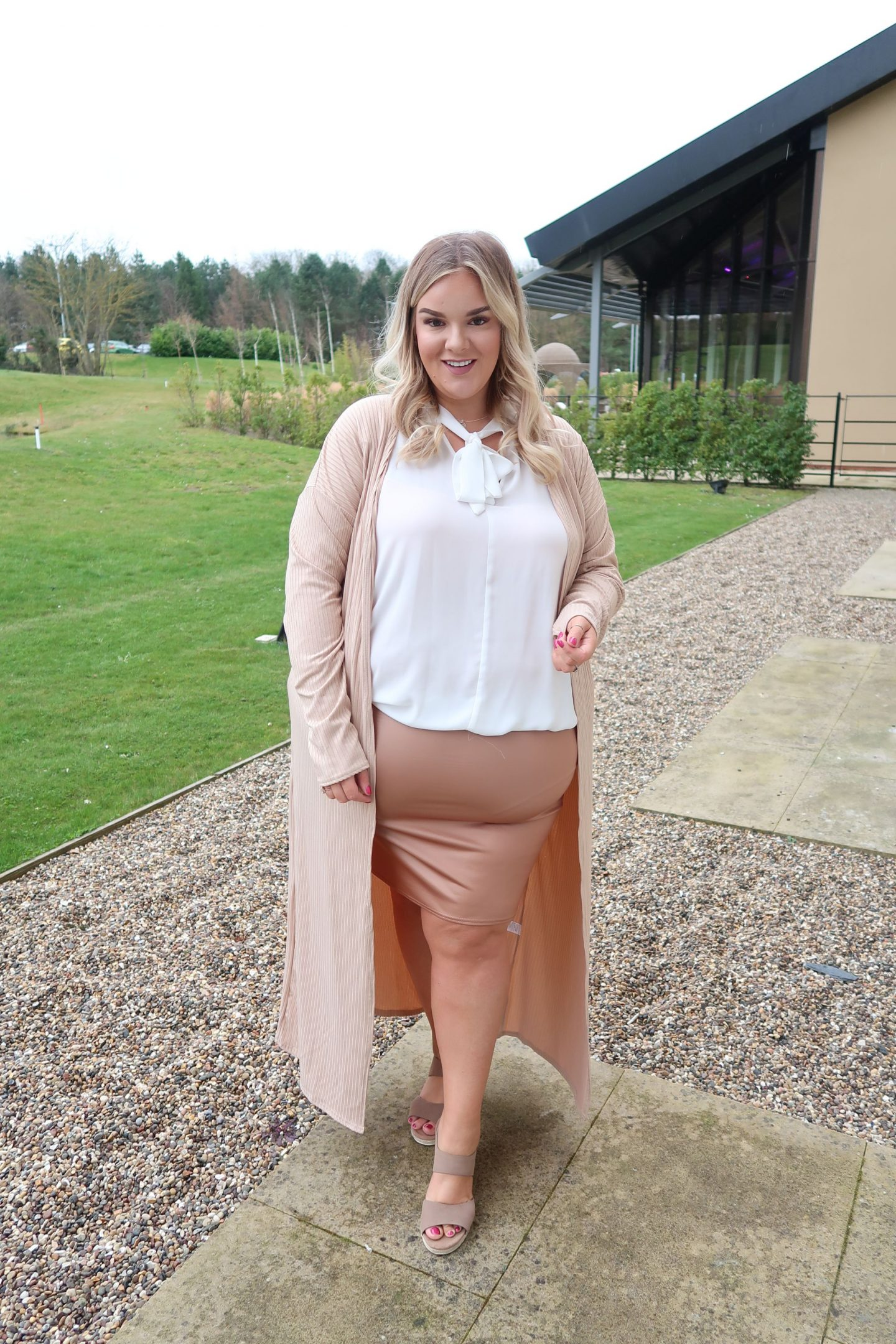 WhatLauraLoves nude monochrome outfit from pink clove at Ramside Hall