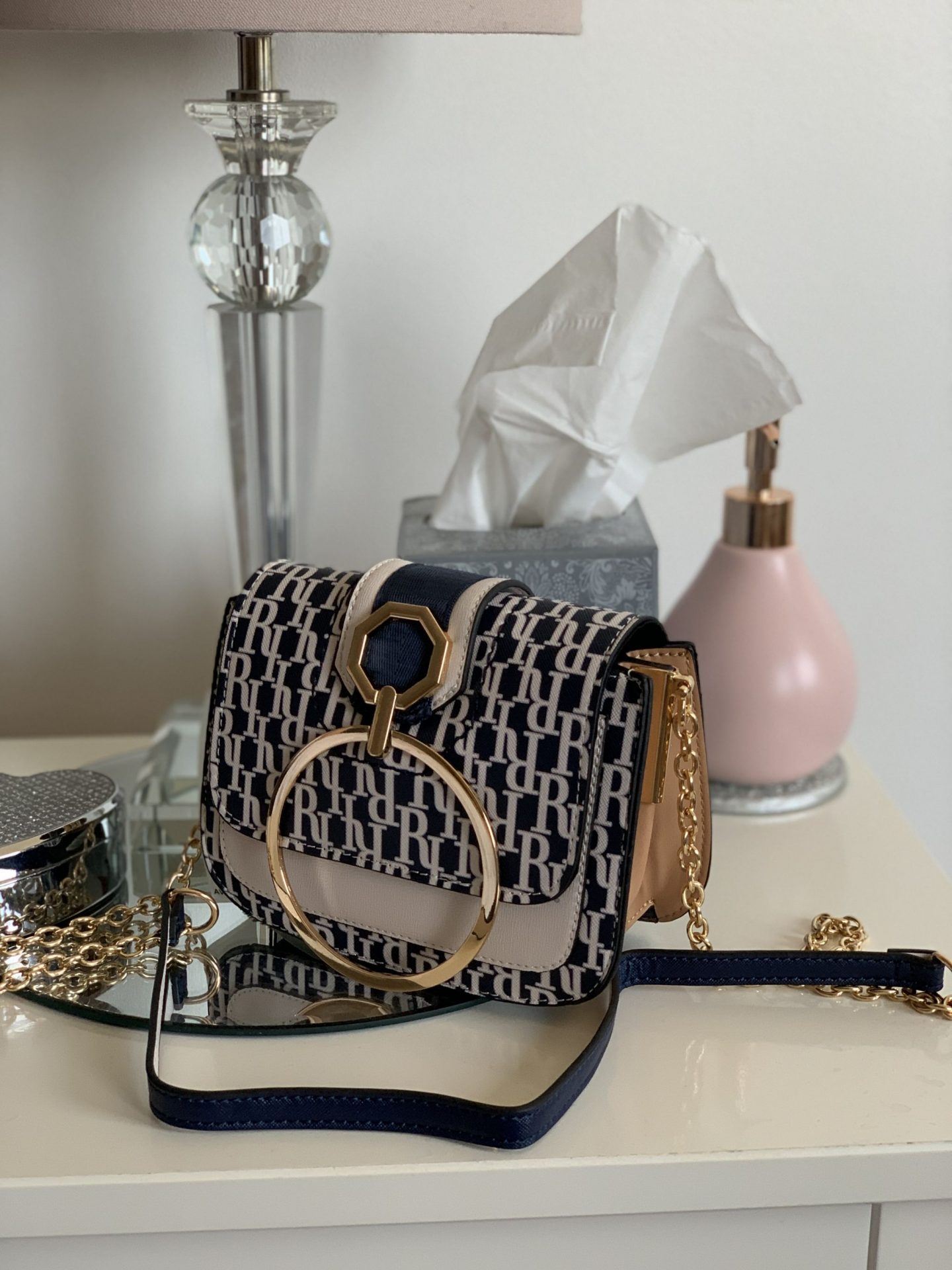 Affordable summer bags River Island Navy Monogram Bag WhatLauraLoves