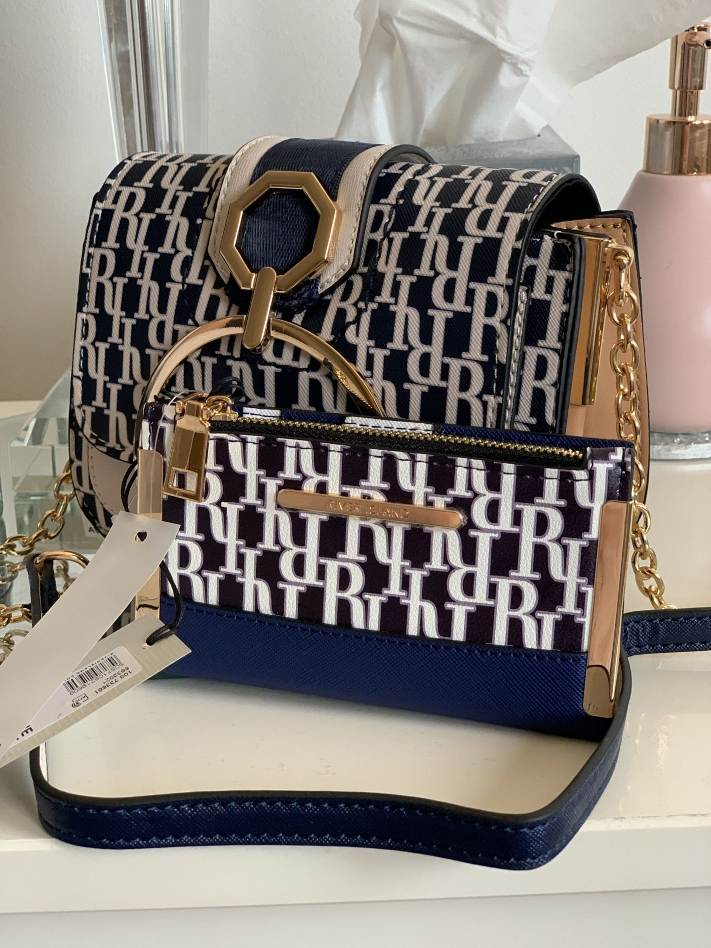Affordable summer bags River Island Navy Monogram Purse WhatLauraLoves