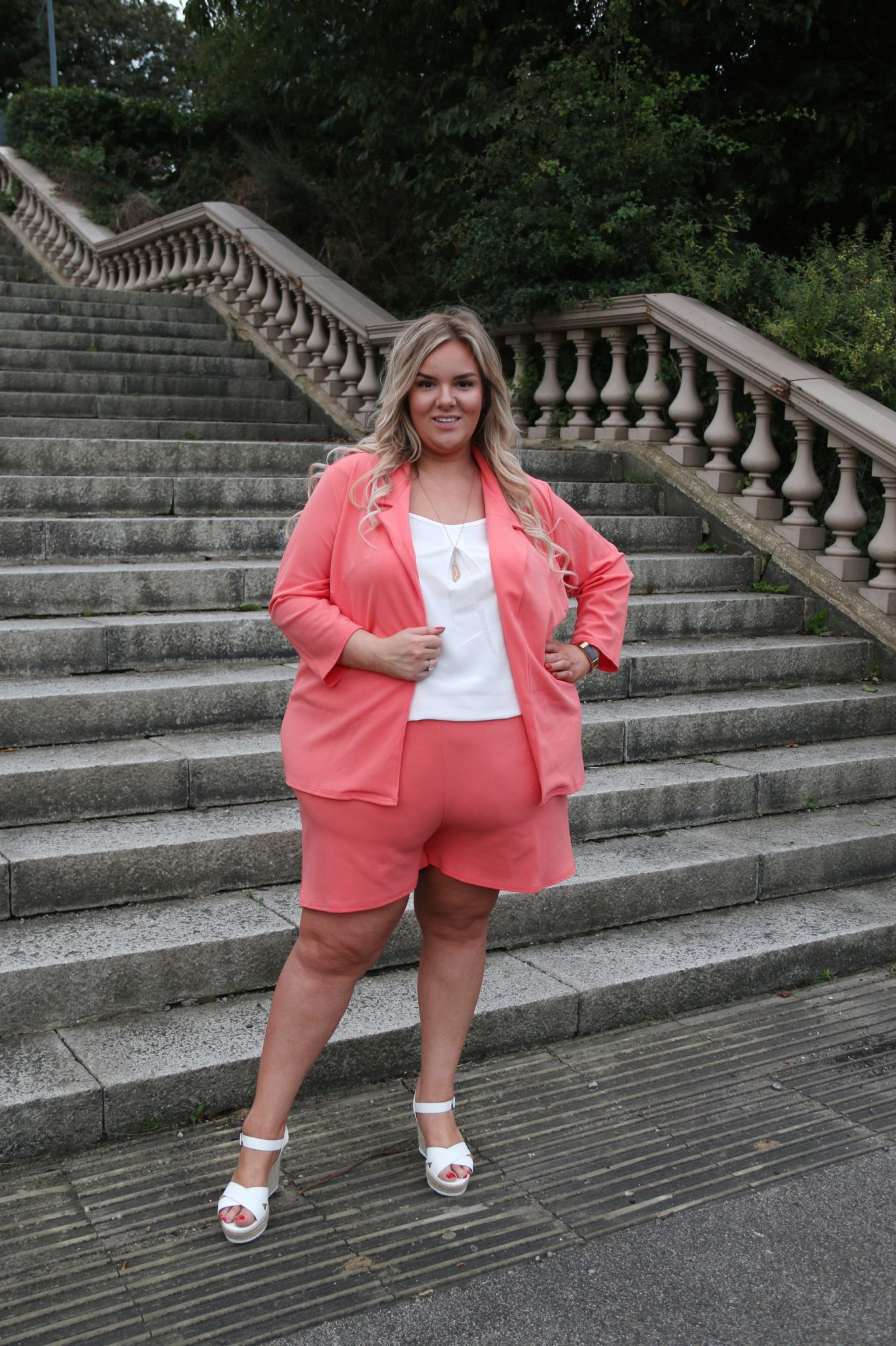 Plus Size Coral Short and Blazer Set WhatLauraLoves