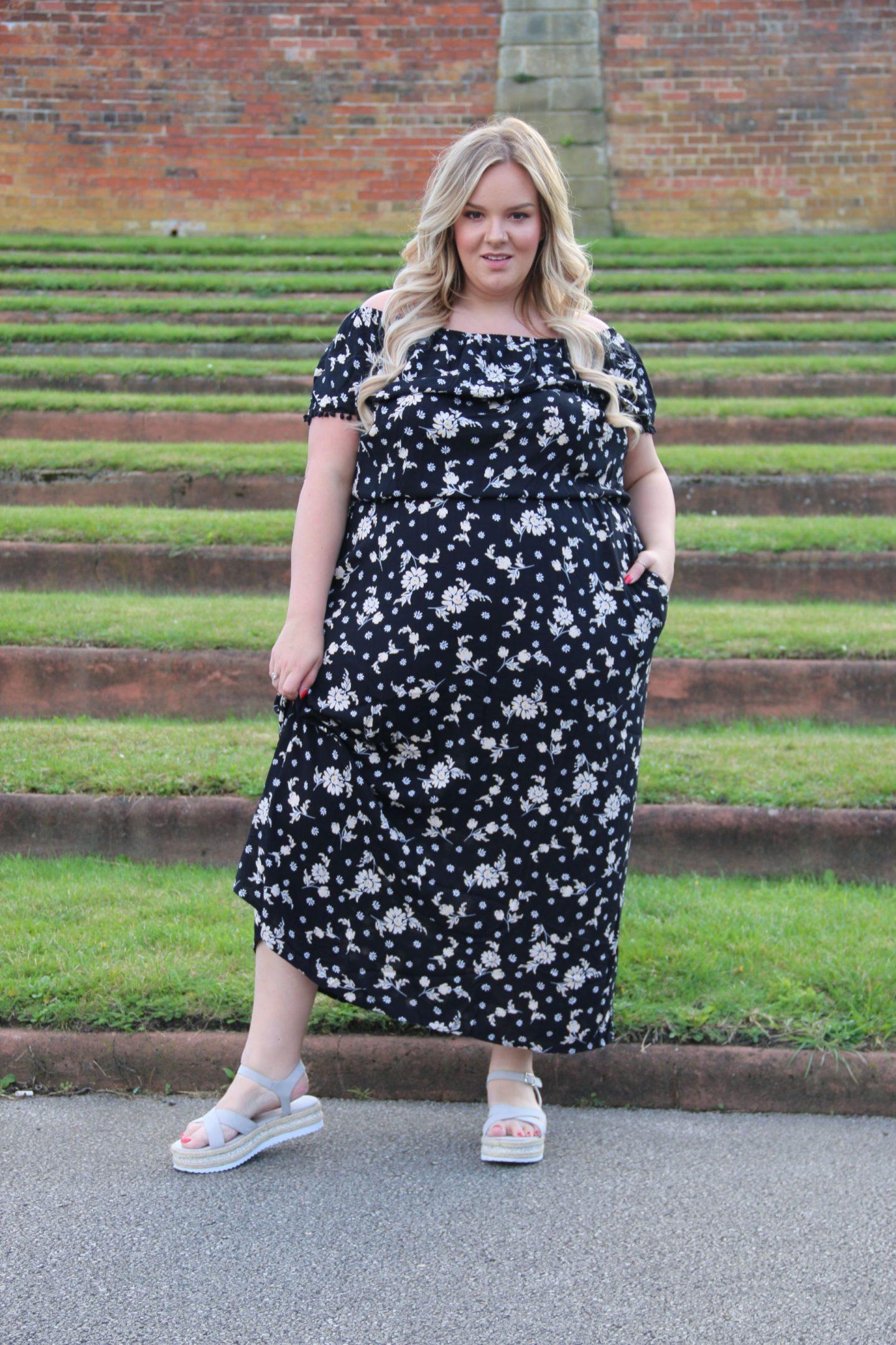 Pom Pom Trim Bardot Maxi Dress WhatLauraLoves